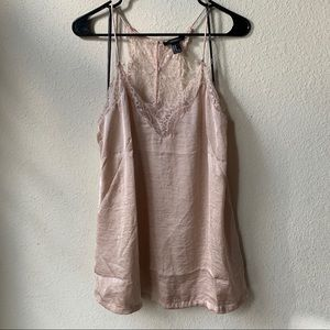 Forever 21 Cream/Light Pink Silky Lace Tank
